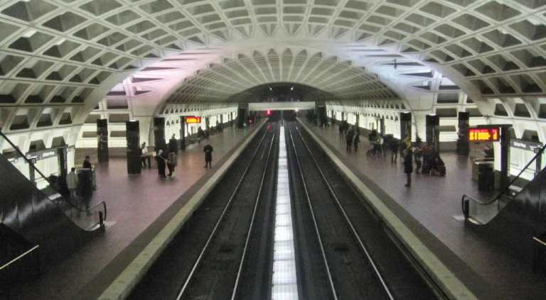 View of the L'Enfant Metro Station located under the Hilton Washington DC National Mall Hotel.